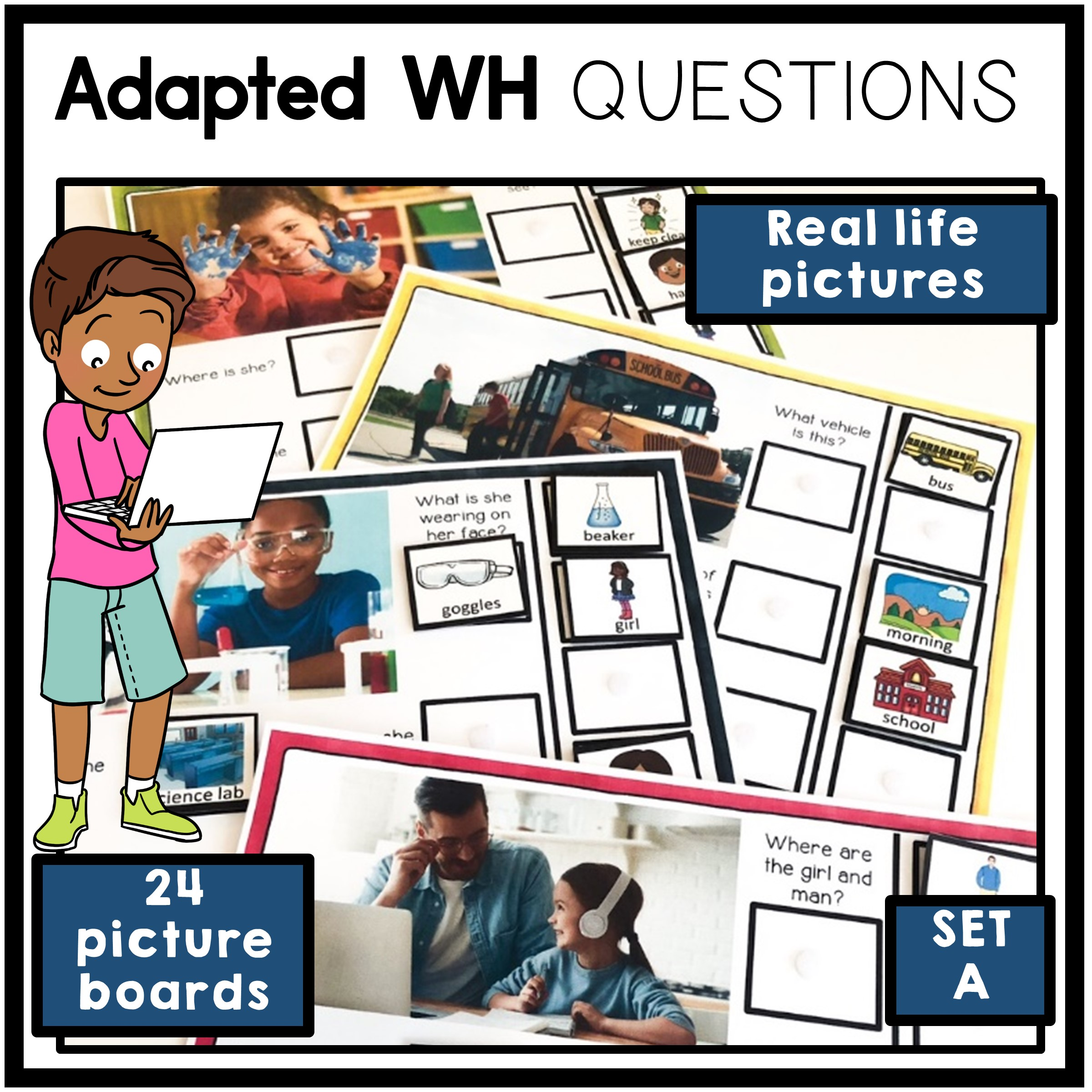 Adapted WH Questions Printable Cards