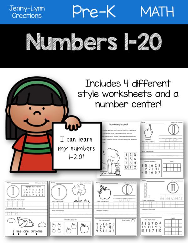 Kindergarten Numbers Printable Worksheets 1-20