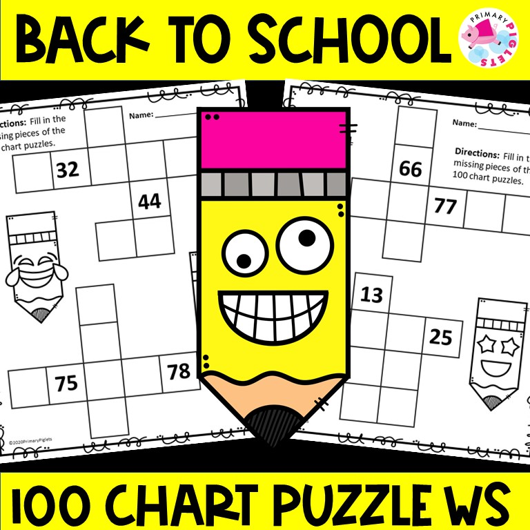 Back To School 100s Chart Printable Puzzles