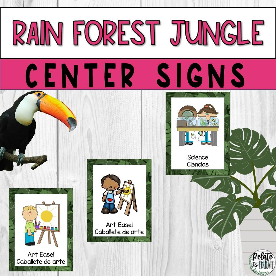 Printable Classroom Center Signs Rain Forest Theme