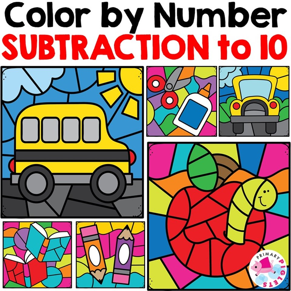 Printable Color By Number Subtraction