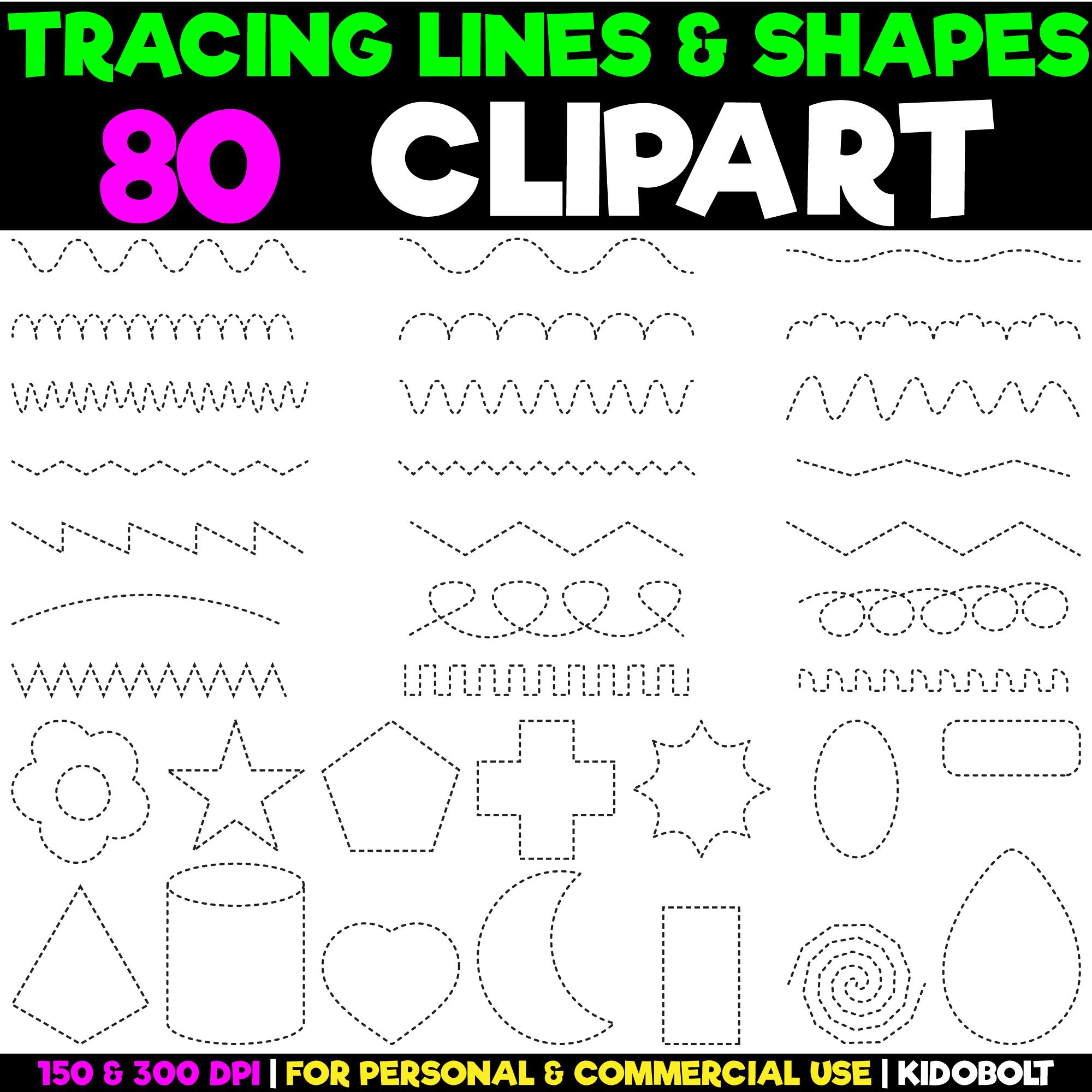 Shape Tracing Clip Art for Teachers