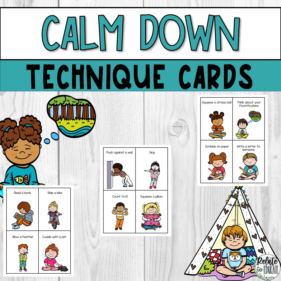 Calm Down Techniques & Strategies Printable Cards