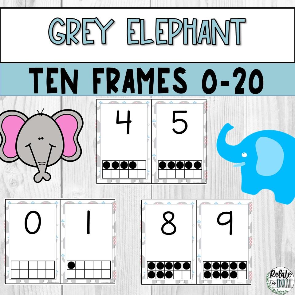 Grey Elephant Printable Ten Frame Posters