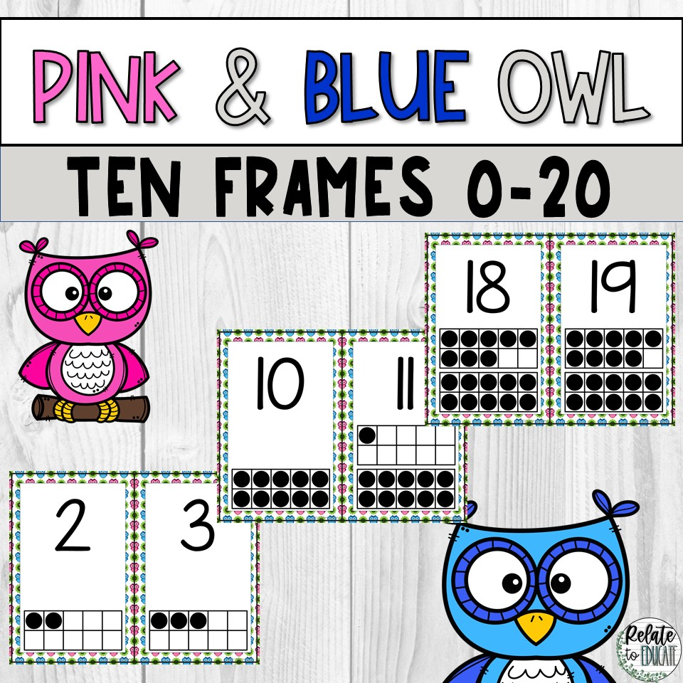 Pink & Blue Owl Printable Ten Frame Number PDF