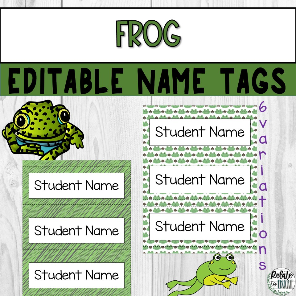Frog Editable Printable Table Name Tags 3x8.5