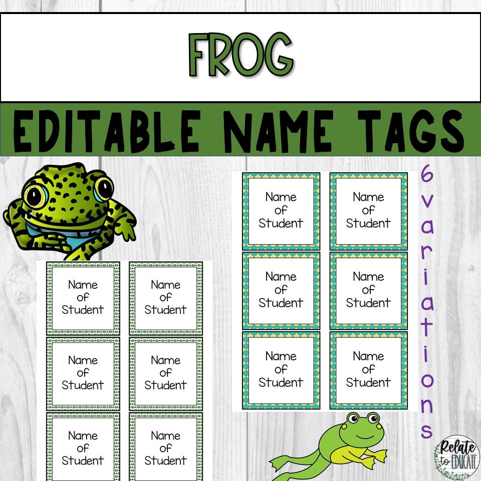 Green Frog Editable Printable Name Tags 3.5x3.5