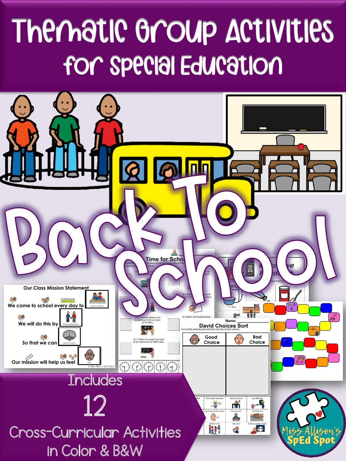 Printable Back to School Thematic Group Activities