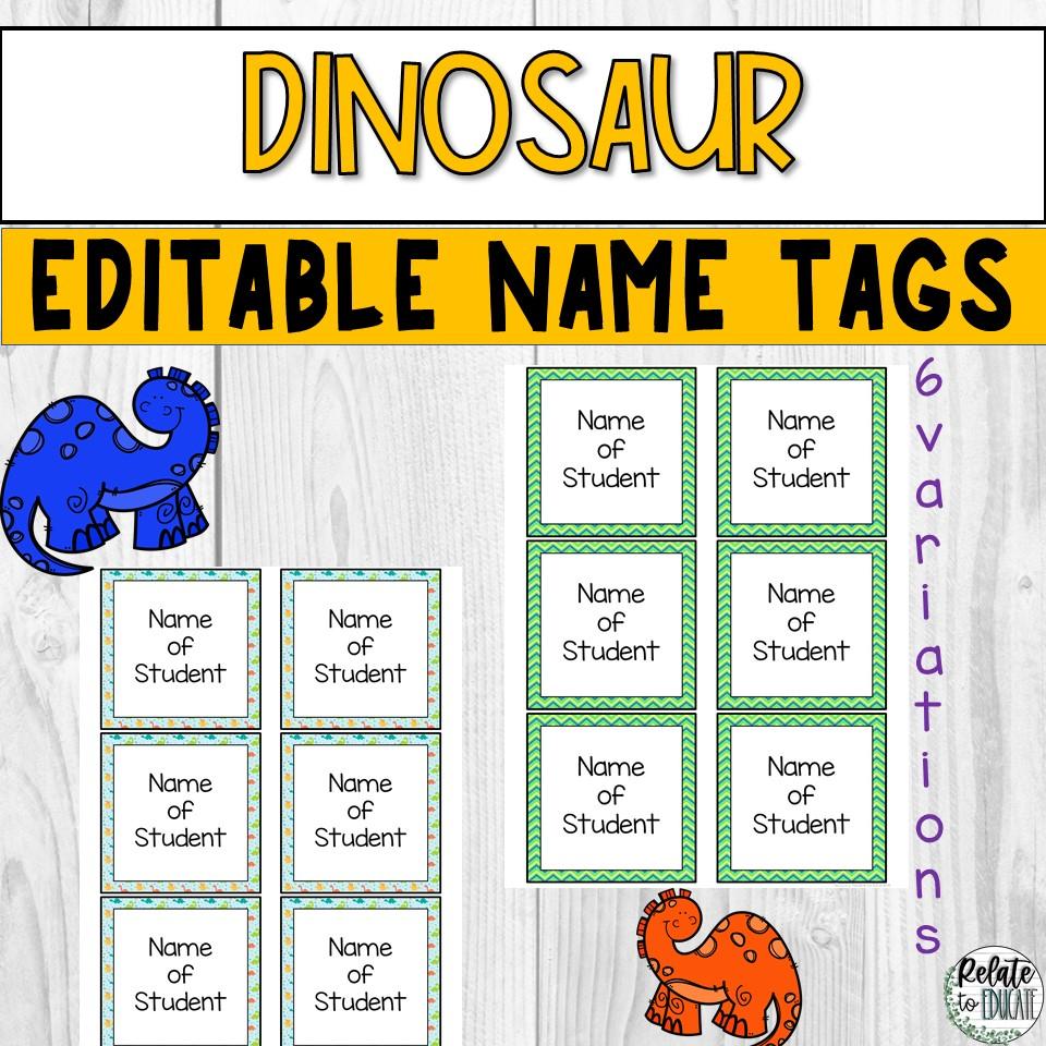 Dinosaur Editable Printable Name Tags 3.5x3.5
