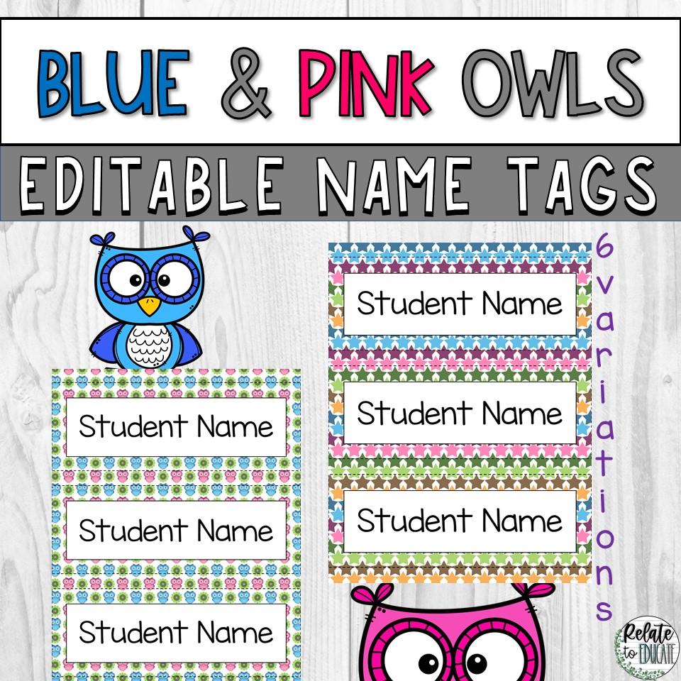 Blue & Pink Owl Editable Printable Table Name Tags