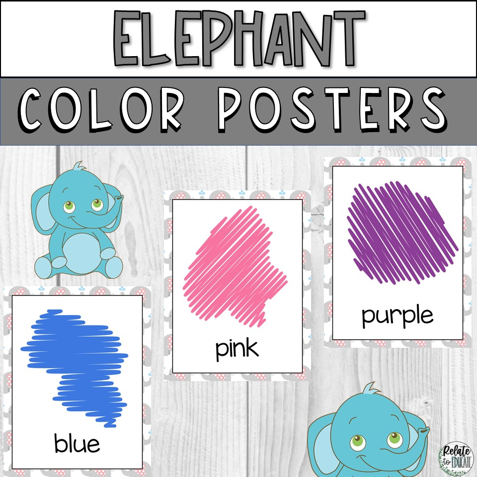 Grey Elephant Printable Color Poster Signs