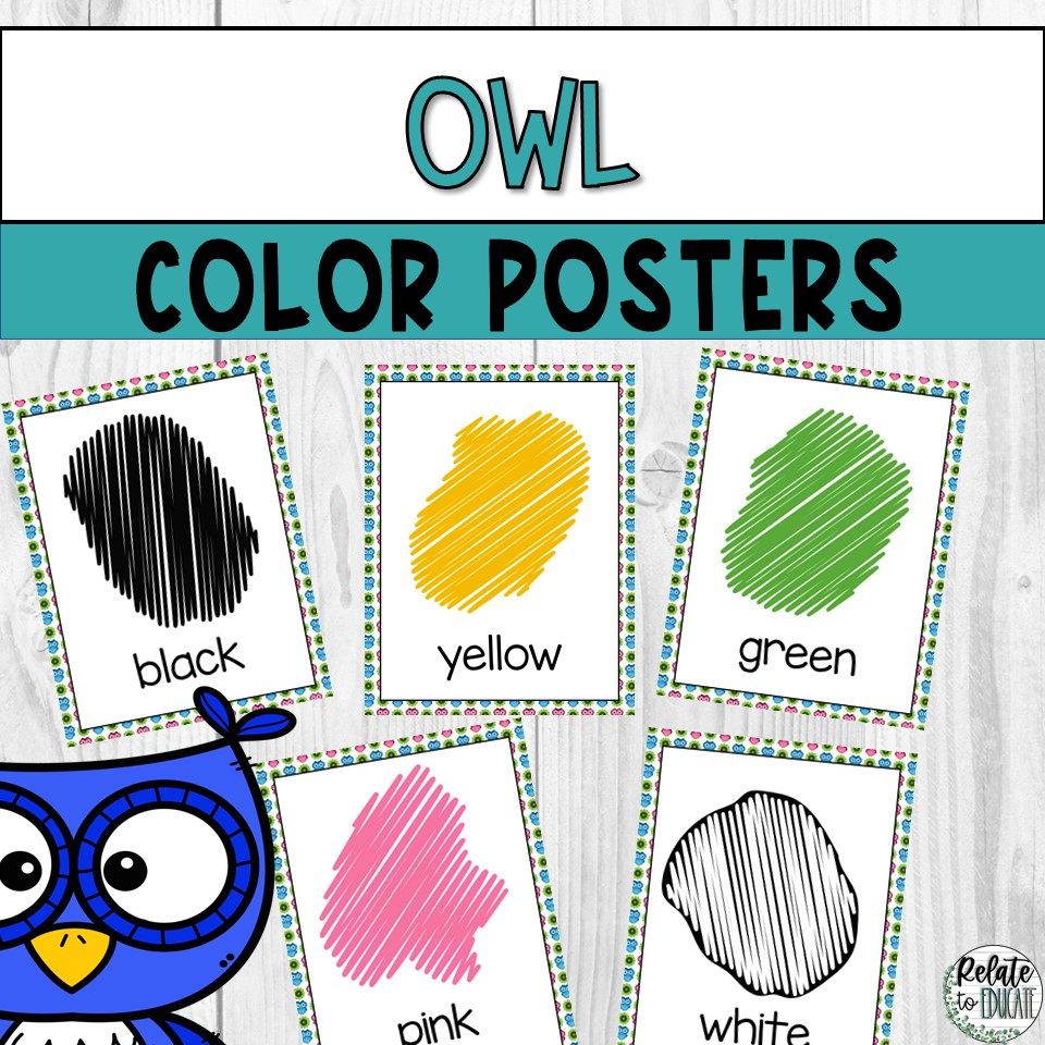 Blue & Pink Owl Printable Color Poster Signs