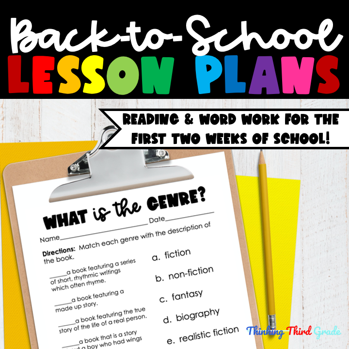 Back to School 3rd Grade Printable Lessons