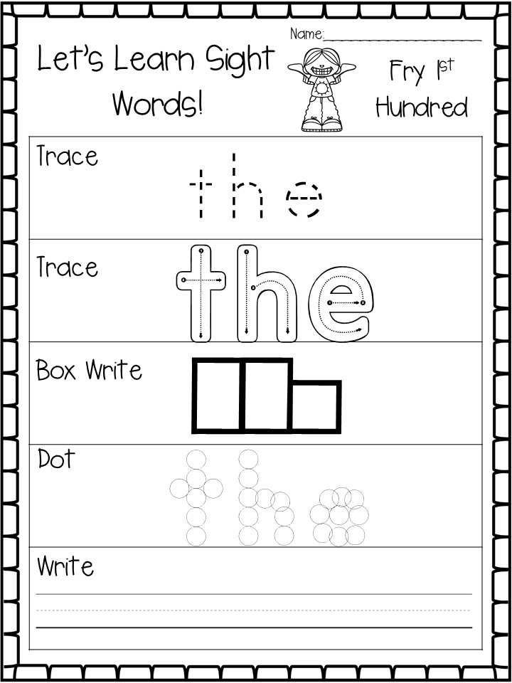 Let's Learn Fry 1st Hundred Sight Word Worksheets