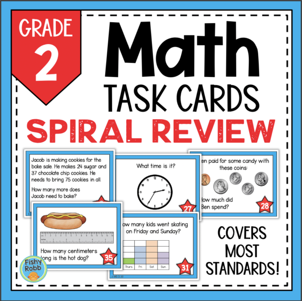2nd Grade Math Spiral Review Printable Task Cards