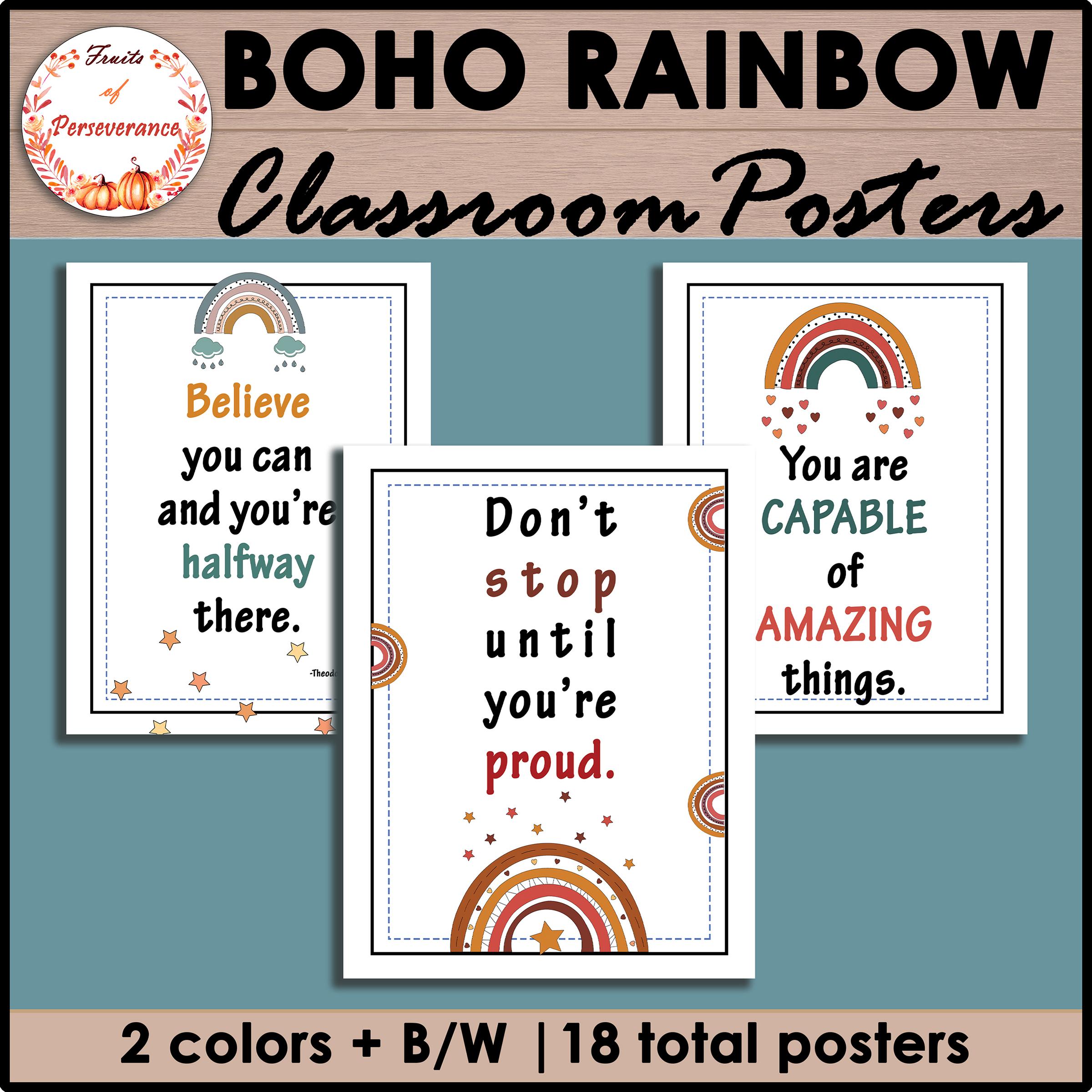 Boho Rainbow Classroom Inspirational Posters