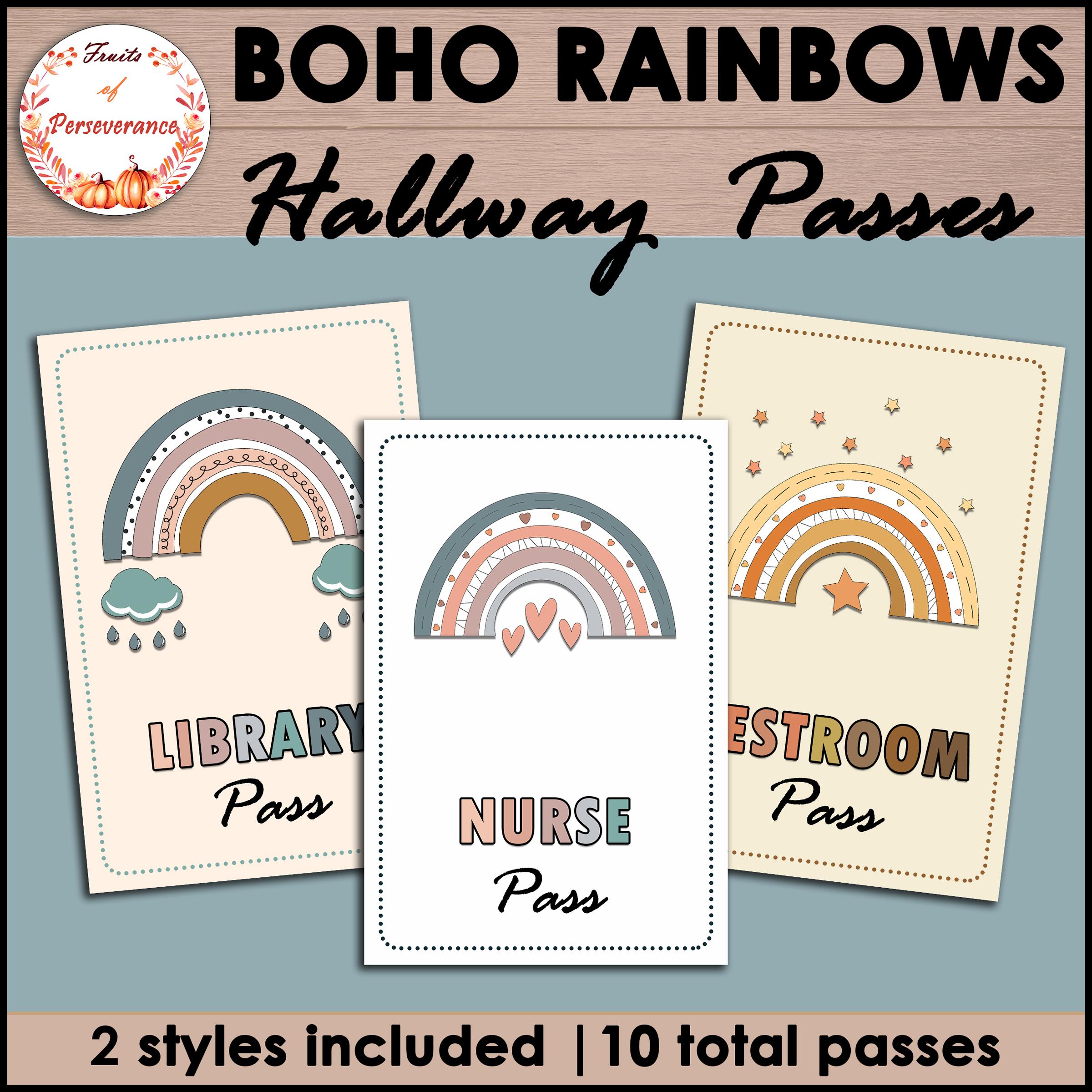 Hall and Restroom Passes Boho Rainbow Theme