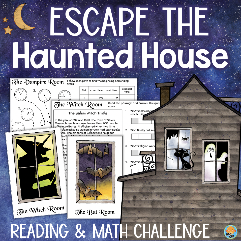 Haunted House Halloween ESCAPE ROOM Reading Math