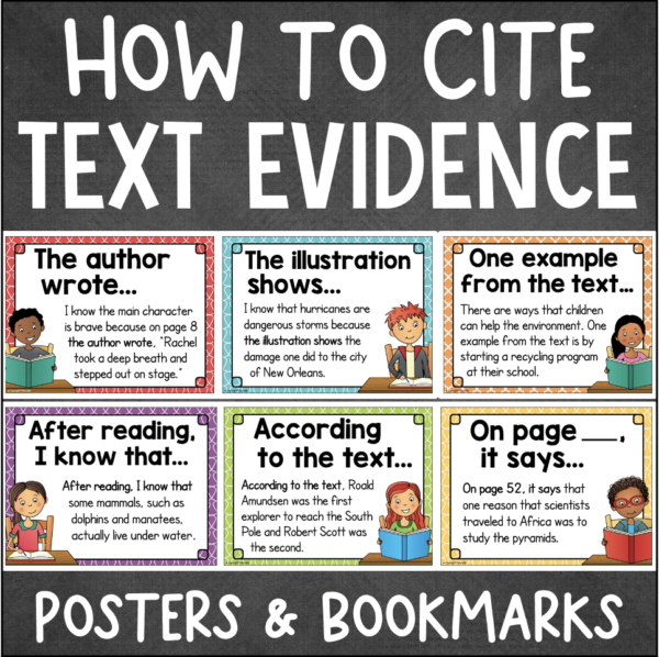 CITING TEXT EVIDENCE Posters Bookmarks