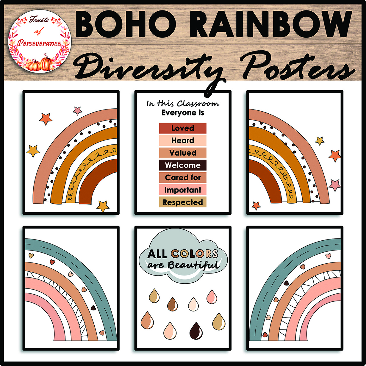 Diversity and Inclusion Boho Rainbow Posters