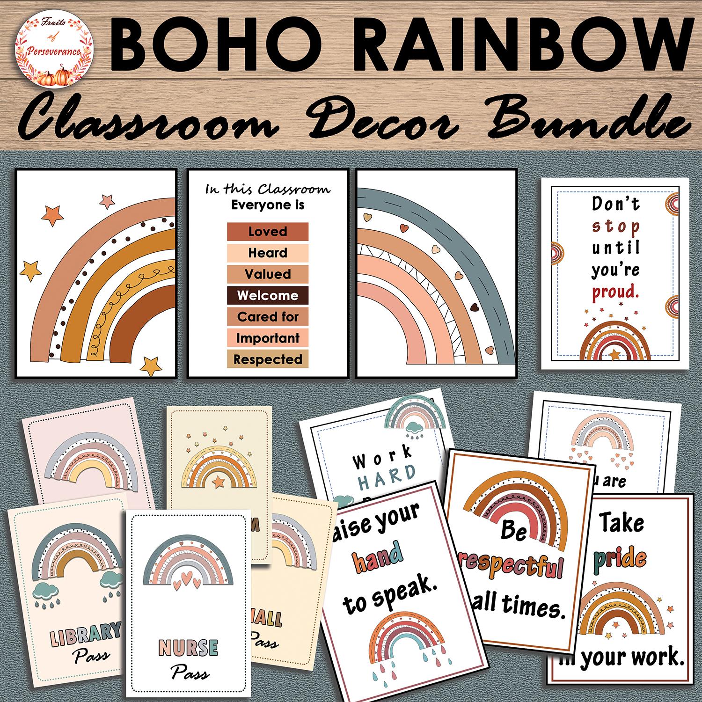 Boho Rainbow Classroom Decor Bundle Back to School