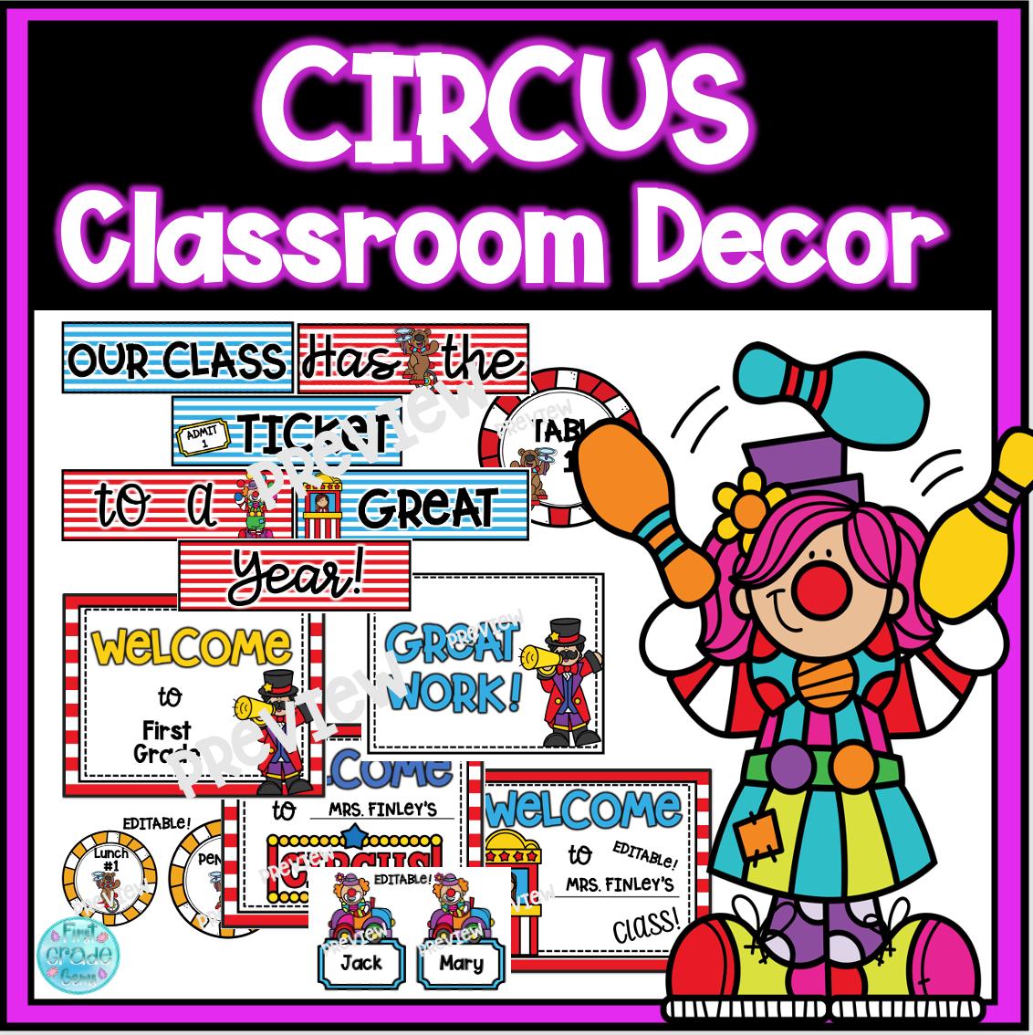 Circus Classroom Door Bulletin Board Decor