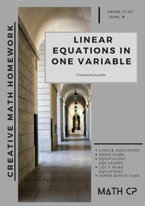 Linear Equation One Variable Downloadable Teaching Resources