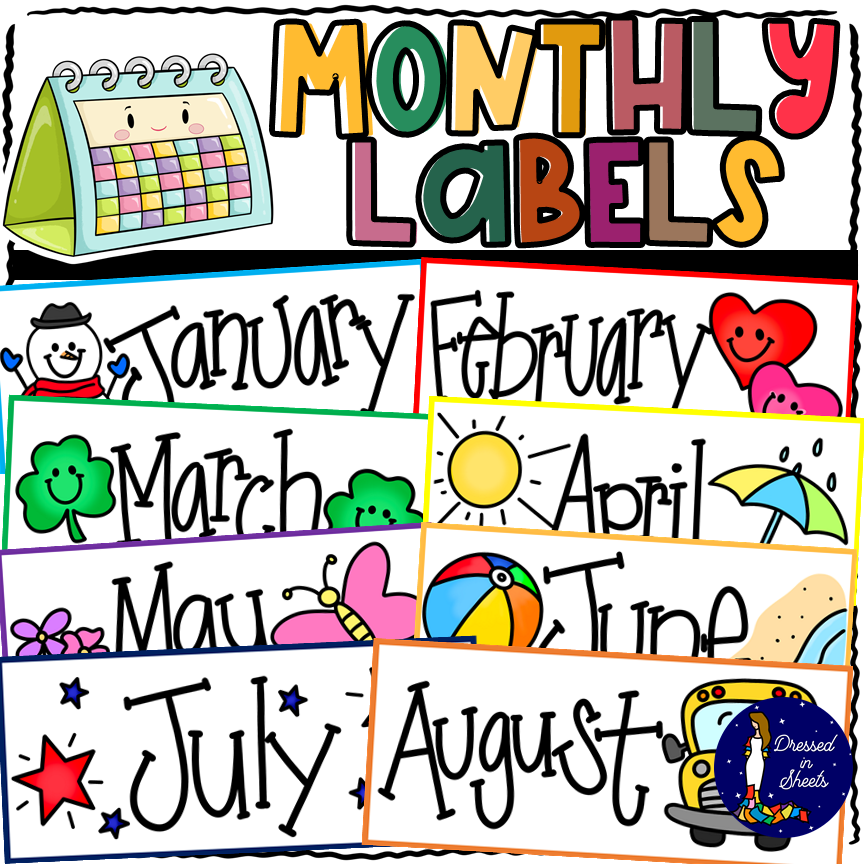 Printable Monthly Labels Clip Art