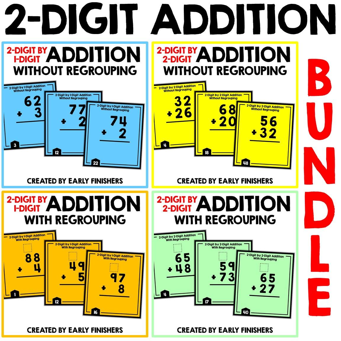 2 Digit Addition Flashcards Printable