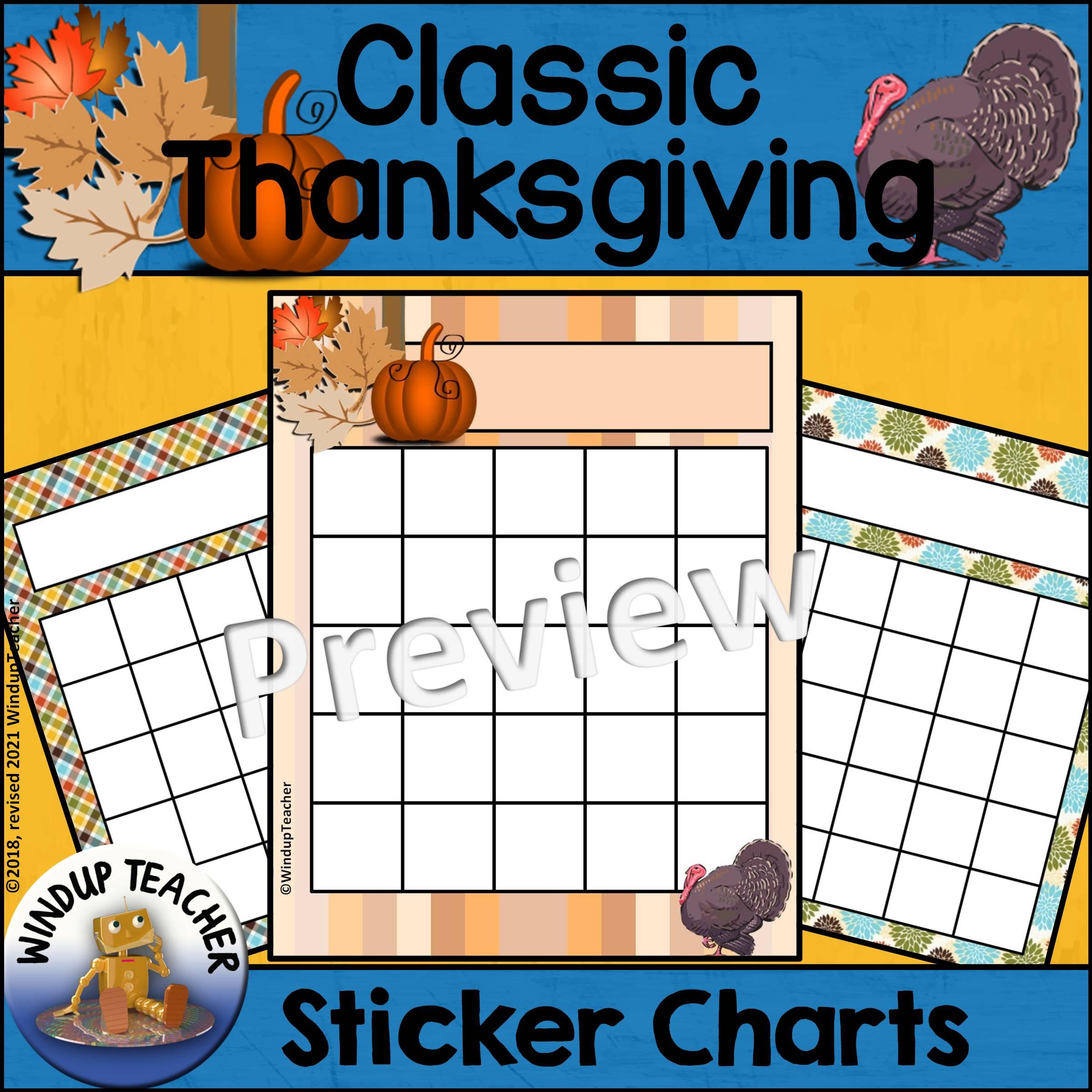 Classic Thanksgiving Sticker Charts