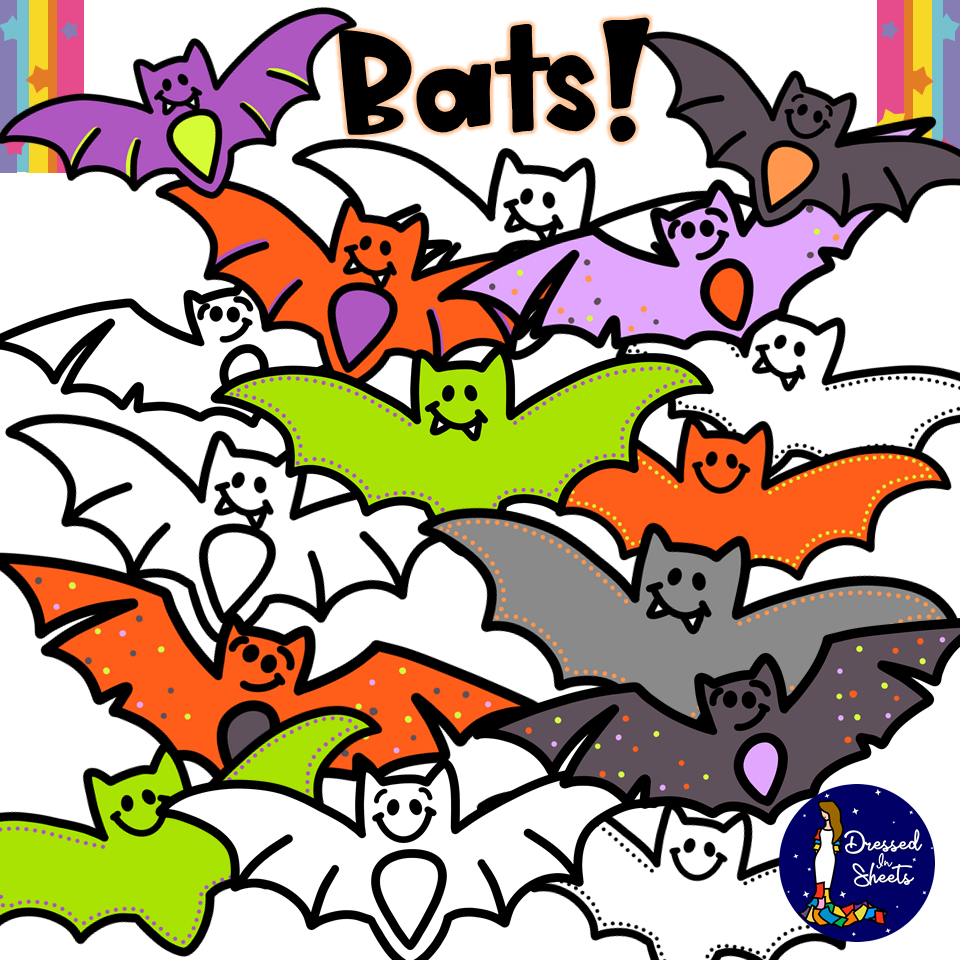 Bats Clip Art in Color and Black and White
