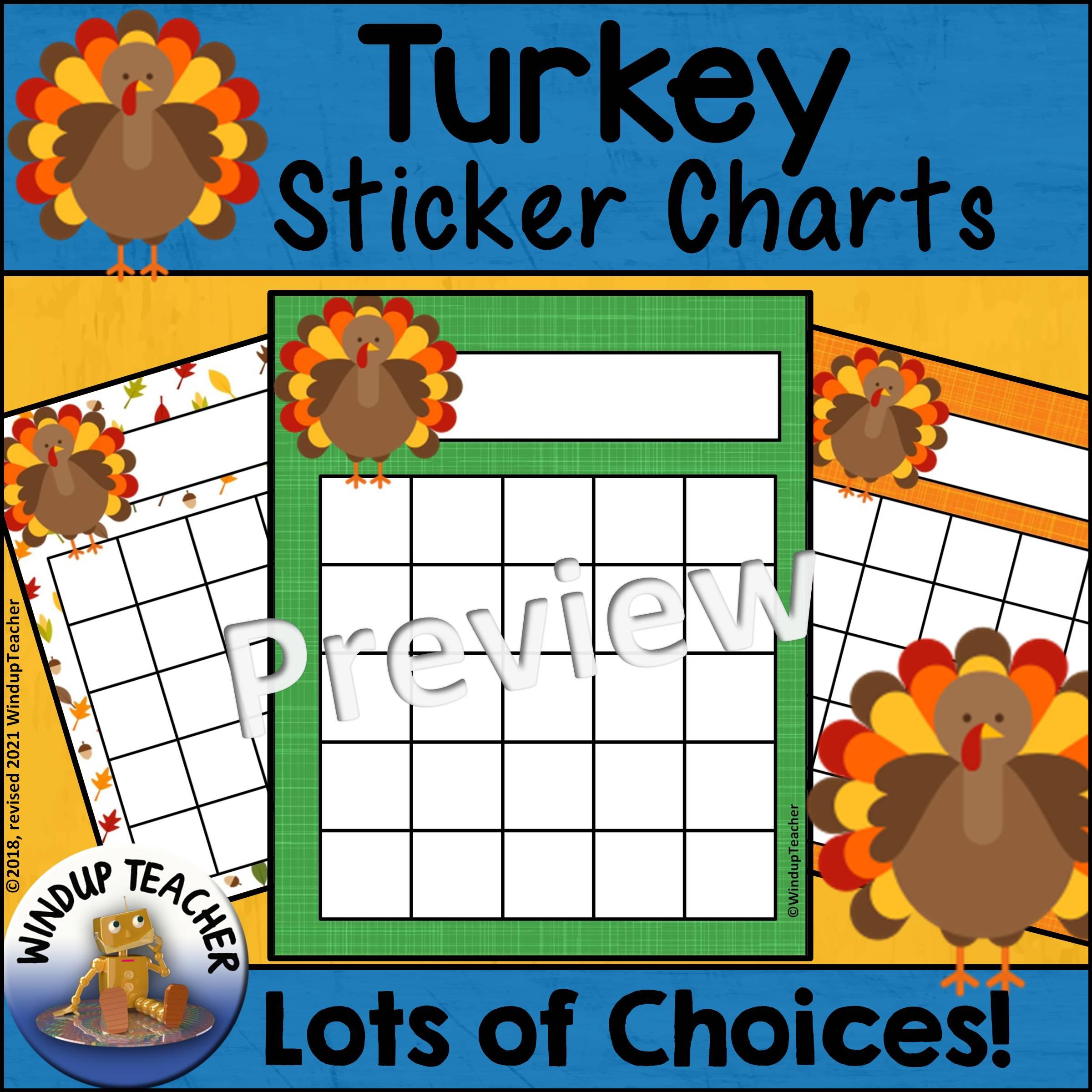 Thanksgiving Turkey Sticker Charts