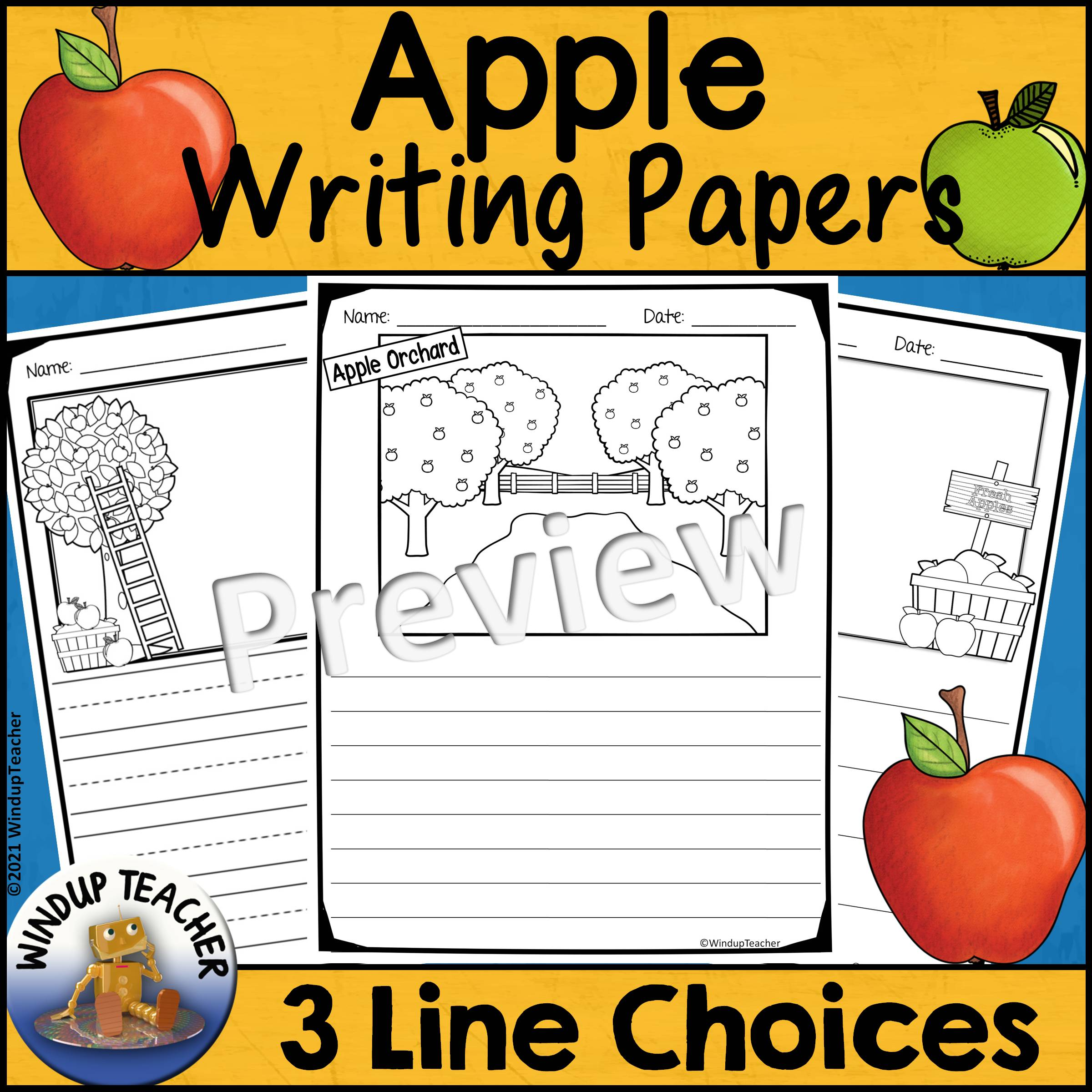 Apple Writing Papers for Fall or Autumn