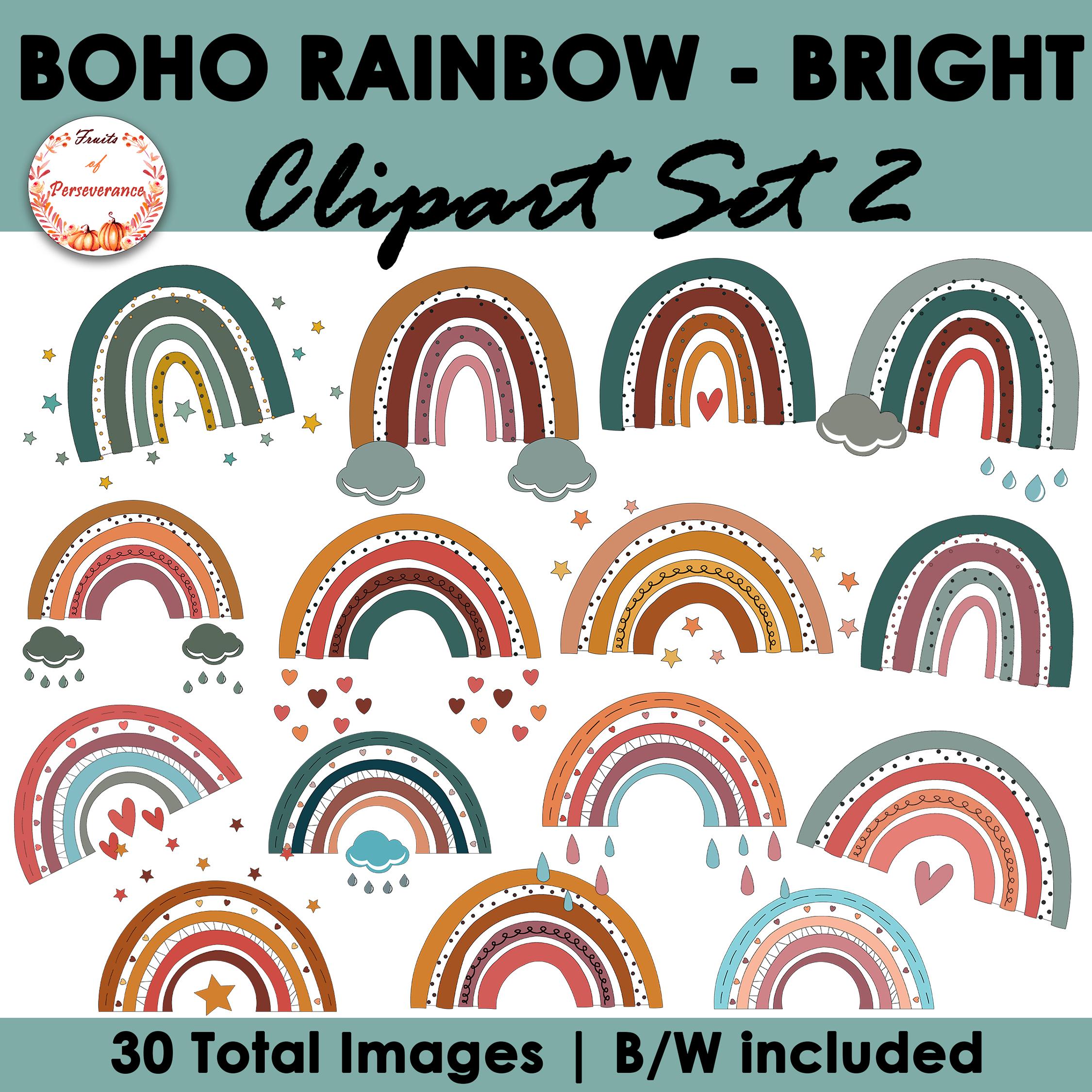 Boho Rainbow Clipart Set of Bright Colors