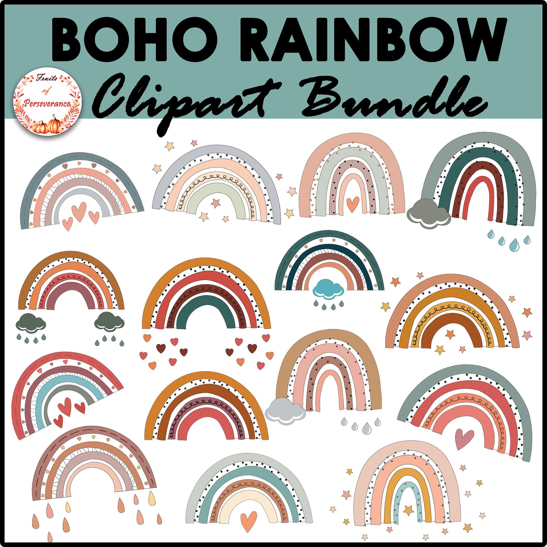 Boho Rainbow Clipart Bundle Bright & Pastel