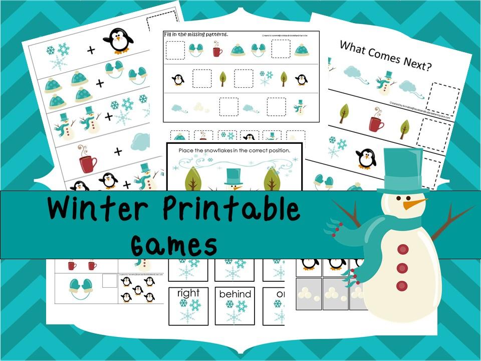 30 Printable Winter Season theme Educational Games