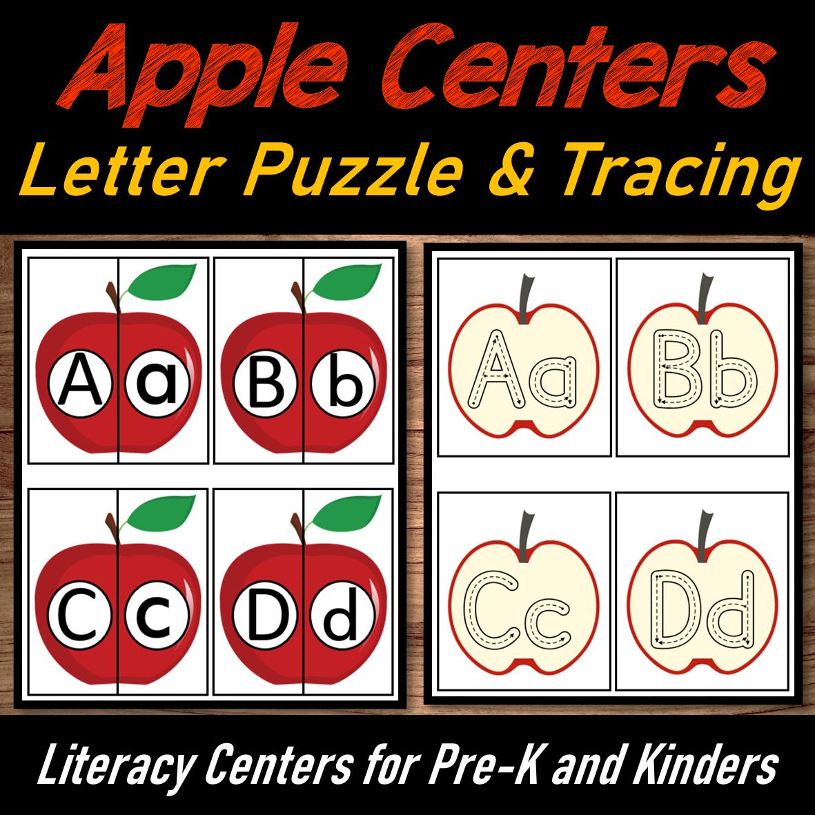Apple Letter Match Puzzle & Alphabet Tracing