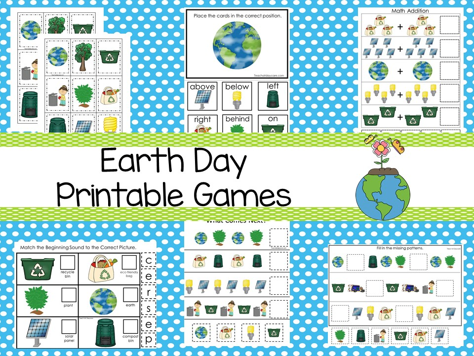 30 Printable Earth Day Educational Learning Games