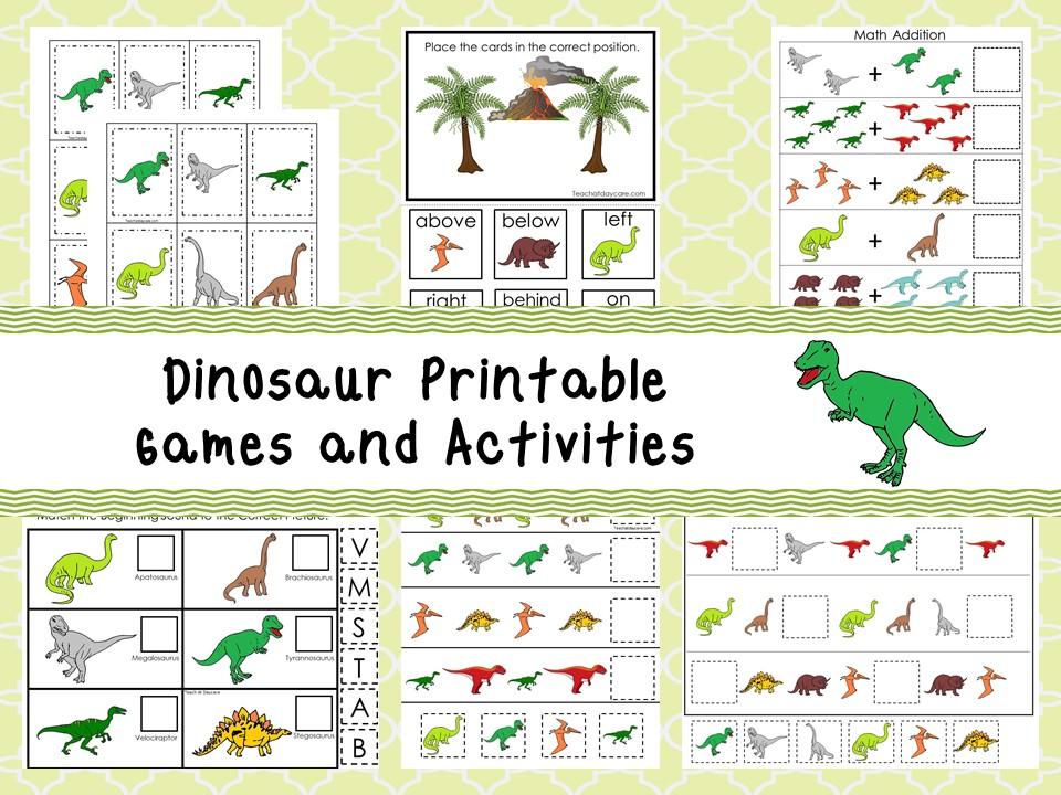 30 Printable Dinosaur Educational Learning Games