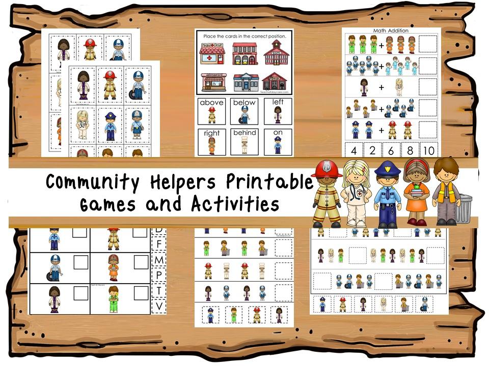30 Printable Community Helpers Learning Games PreK