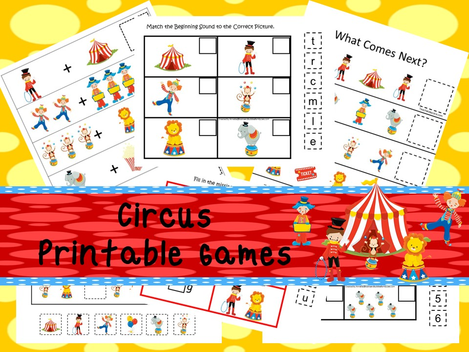 30 Printable Circus Educational Learning Games