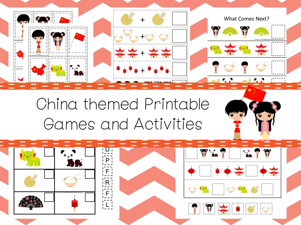 30 Printable China themed Preschool Learning Games