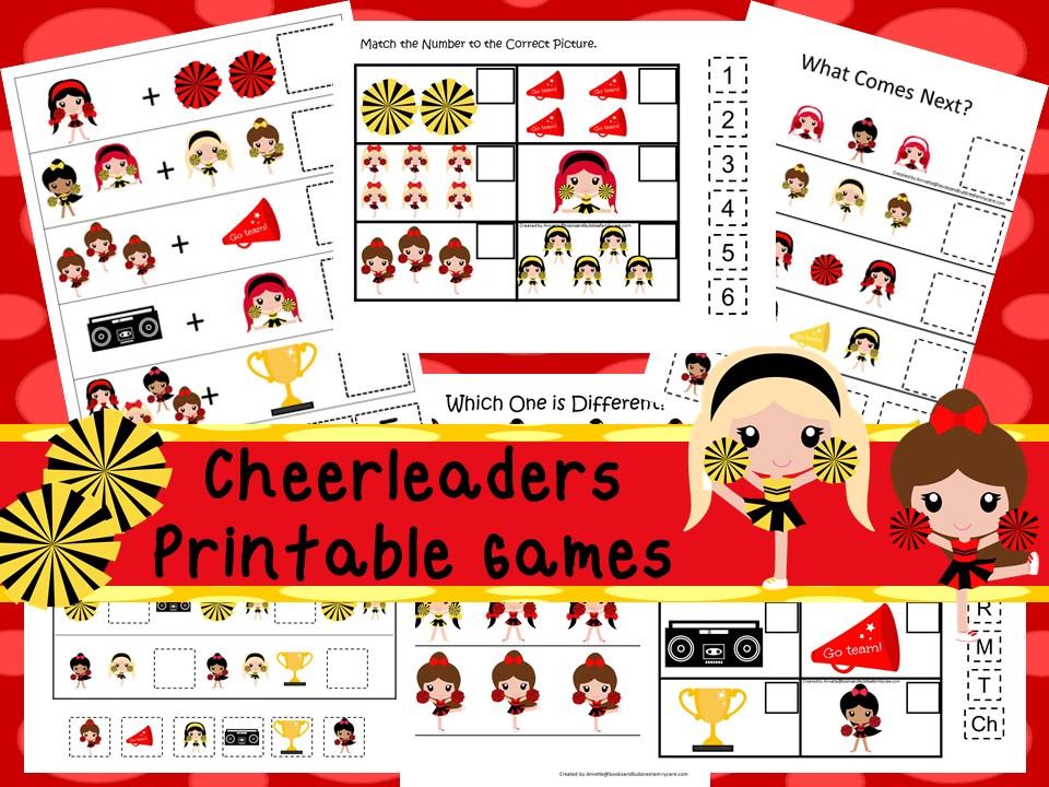 30 Printable Cheerleaders Preschool Learning Games