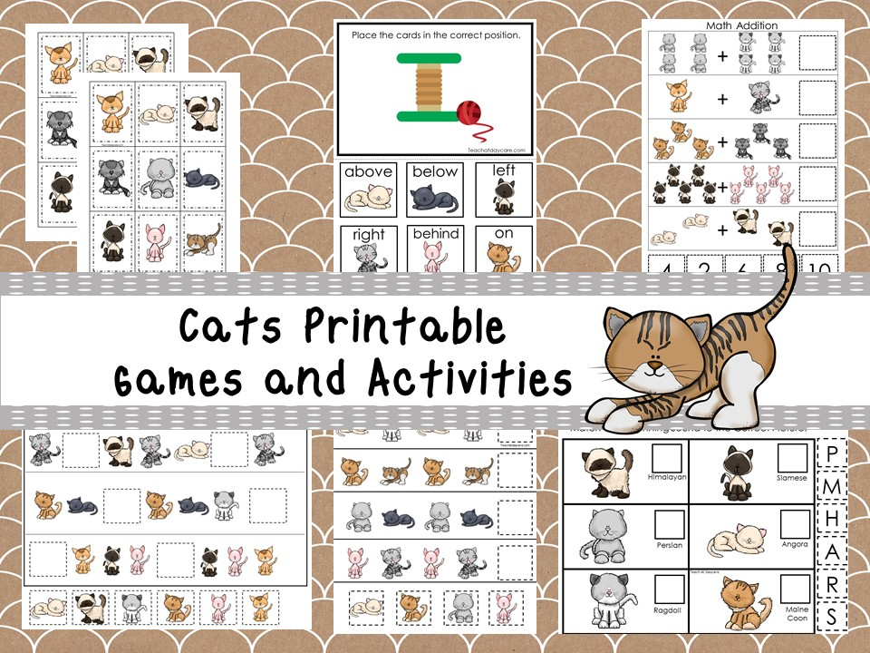 30 Printable Cats themed Preschool Learning Games