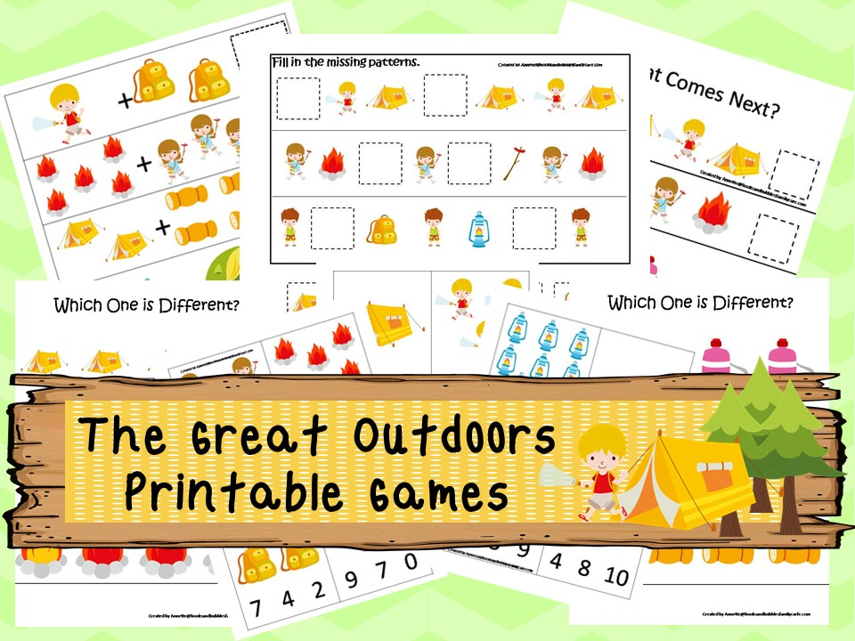30 Printable Camping theme Preschool Learning Game