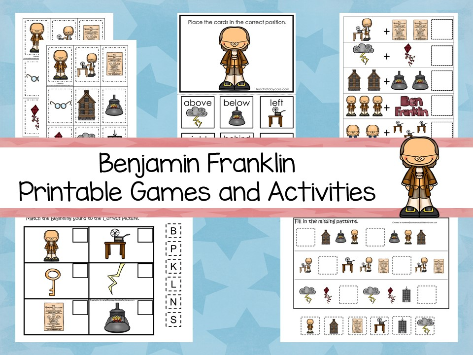 30 Printable Ben Franklin President learning games