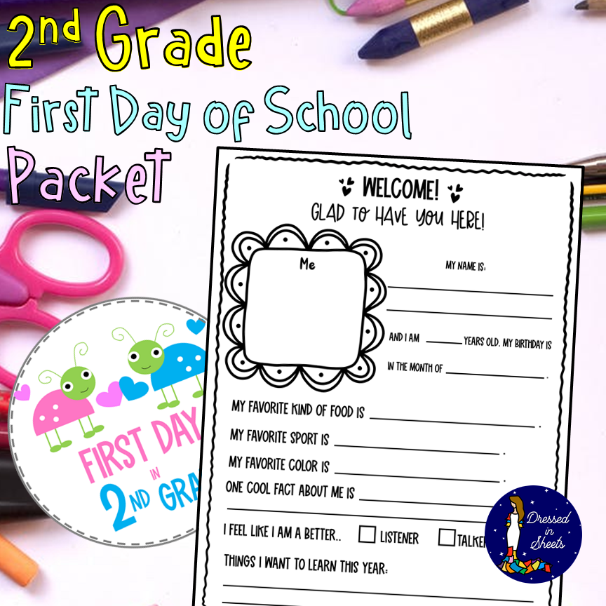 2nd grade First Day of School Packet