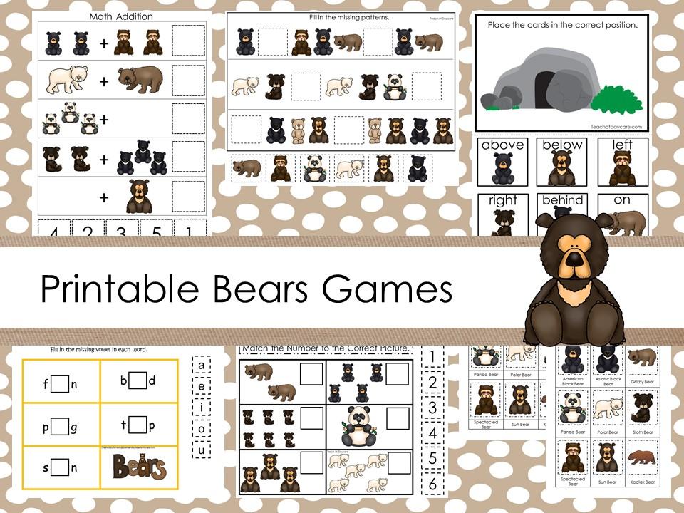 30 Printable Bears educational learning games