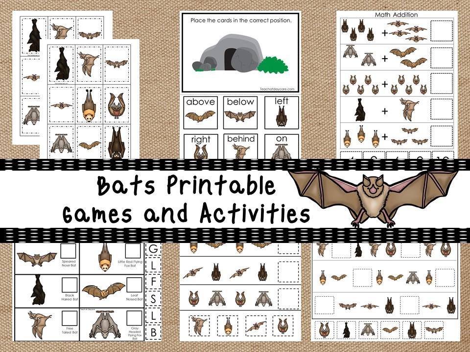 30 Printable Bats theme educational learning games