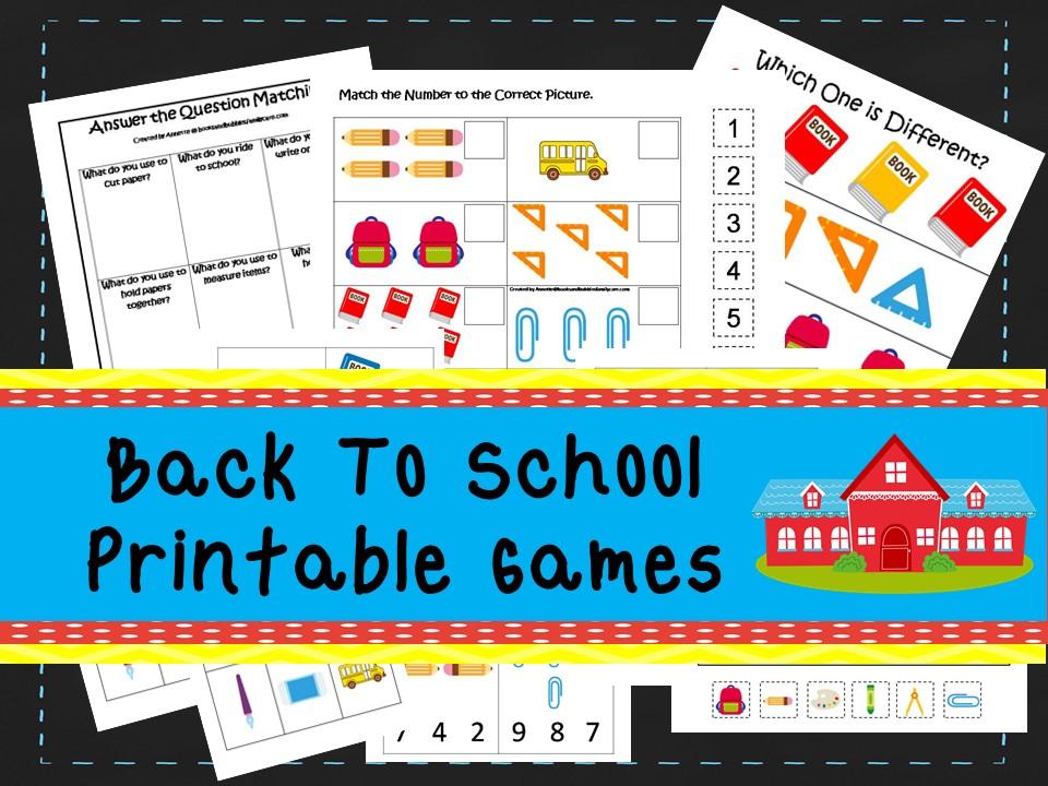 30 Printable Back to School themed learning games